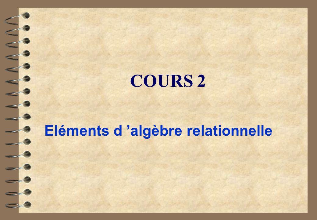 COURS 2 Eléments d algèbre relationnelle
