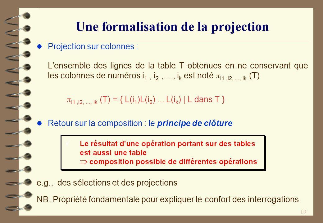 10 Une formalisation de la projection l Projection sur colonnes : L'ensemble des lignes de la table T obtenues en ne conservant que les colonnes de nu