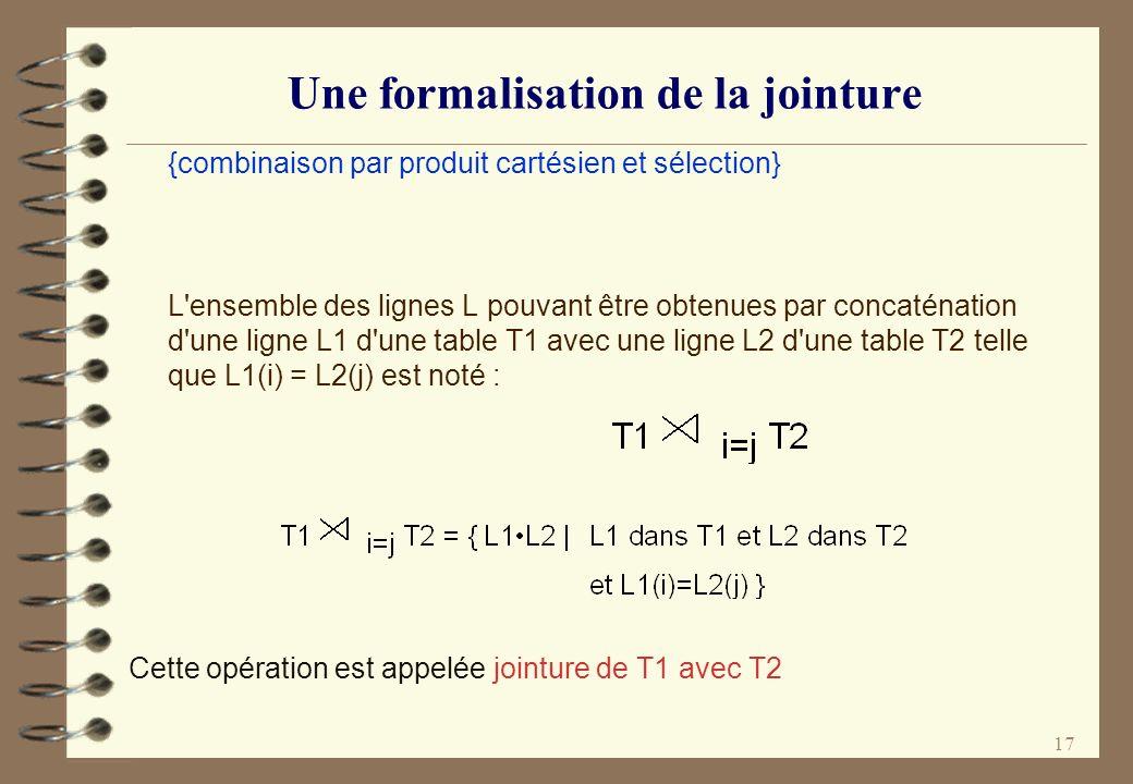 17 Une formalisation de la jointure {combinaison par produit cartésien et sélection} L'ensemble des lignes L pouvant être obtenues par concaténation d