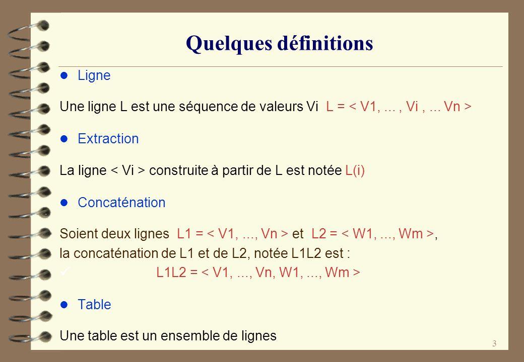 3 Quelques définitions l Ligne Une ligne L est une séquence de valeurs Vi, L = l Extraction La ligne construite à partir de L est notée L(i) l Concaté