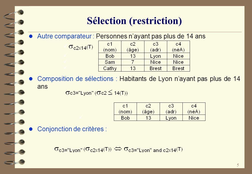 6 Sélection (restriction) l Autre comparateur : Personnes nayant pas plus de 14 ans l Composition de sélections : Habitants de Lyon nayant pas plus de 14 ans l Conjonction de critères :