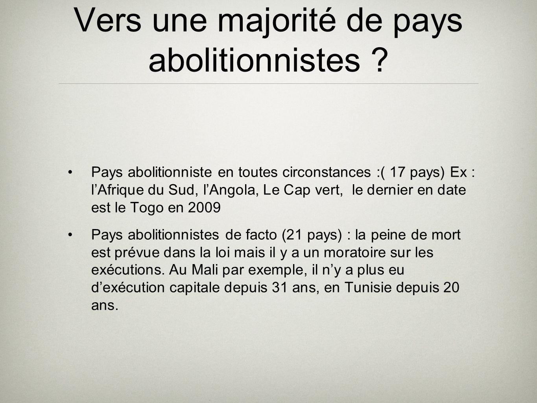 Vers une majorité de pays abolitionnistes ? Pays abolitionniste en toutes circonstances :( 17 pays) Ex : lAfrique du Sud, lAngola, Le Cap vert, le der