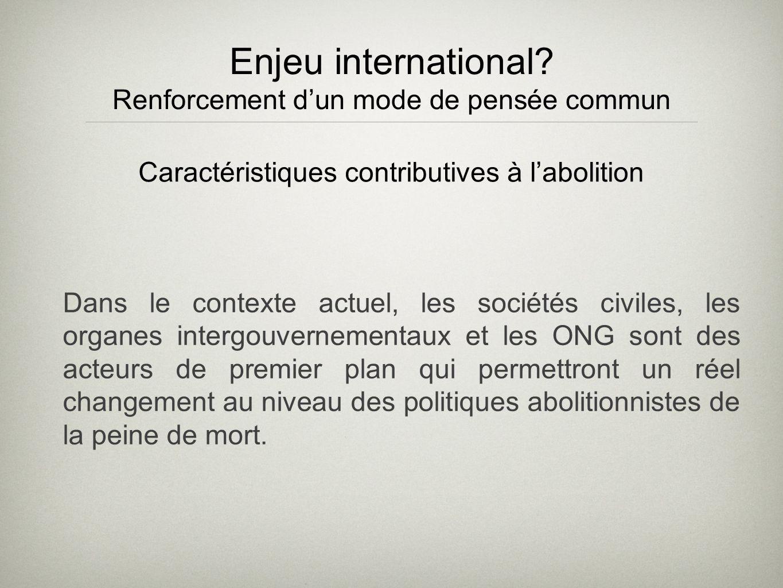 Enjeu international? Renforcement dun mode de pensée commun Dans le contexte actuel, les sociétés civiles, les organes intergouvernementaux et les ONG