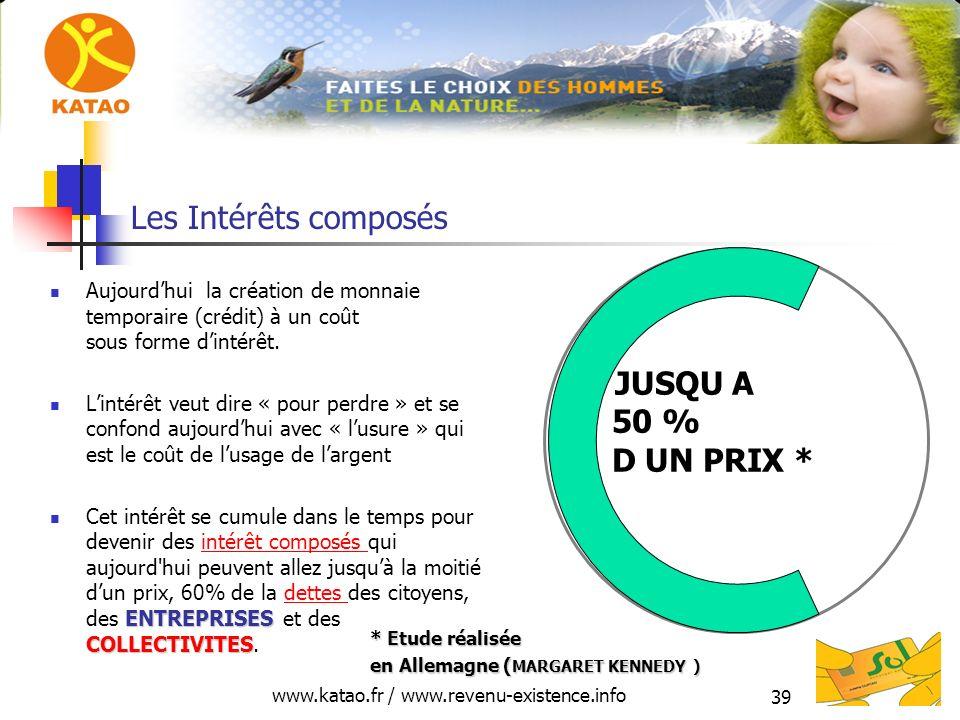 www.katao.fr / www.revenu-existence.info 39 Les Intérêts composés Aujourdhui la création de monnaie temporaire (crédit) à un coût sous forme dintérêt.