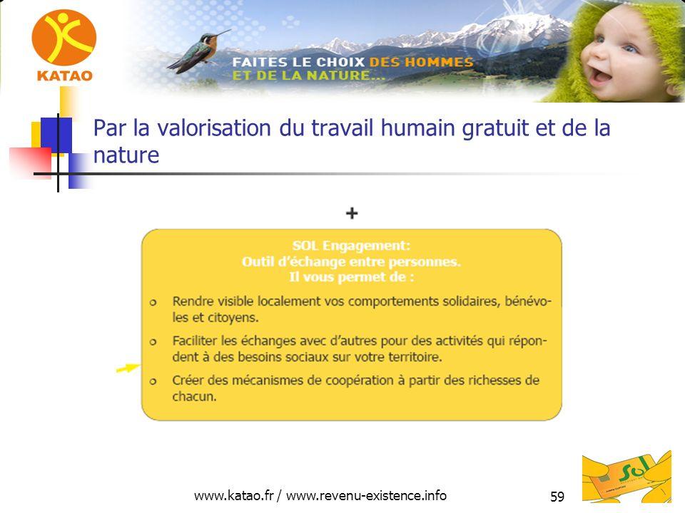 www.katao.fr / www.revenu-existence.info 59 Par la valorisation du travail humain gratuit et de la nature