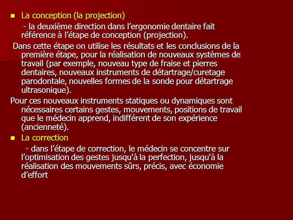 La conception (la projection) La conception (la projection) - la deuxième direction dans lergonomie dentaire fait référence à létape de conception (projection).