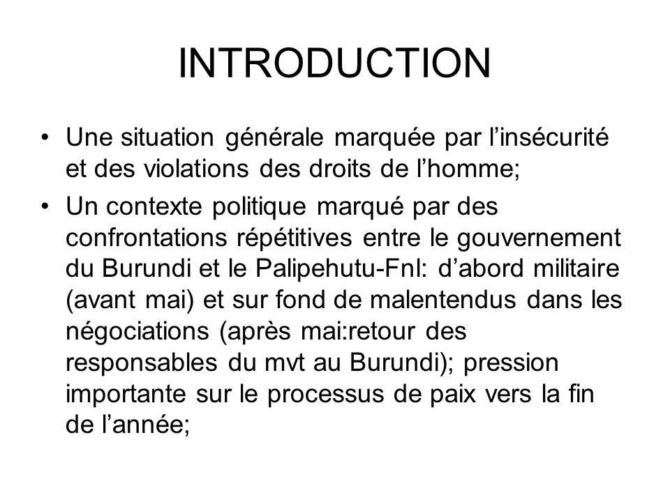 INTRODUCTION Une situation générale marquée par linsécurité et des violations des droits de lhomme; Un contexte politique marqué par des confrontations répétitives entre le gouvernement du Burundi et le Palipehutu-Fnl: dabord militaire (avant mai) et sur fond de malentendus dans les négociations (après mai:retour des responsables du mvt au Burundi); pression importante sur le processus de paix vers la fin de lannée;