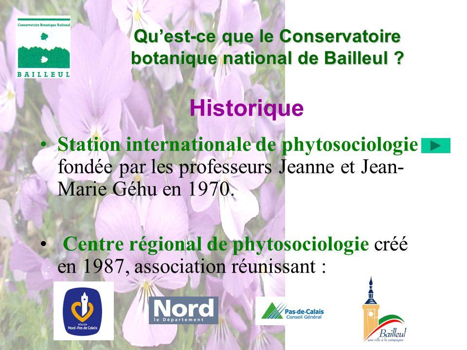 Historique Station internationale de phytosociologie fondée par les professeurs Jeanne et Jean- Marie Géhu en 1970. Centre régional de phytosociologie