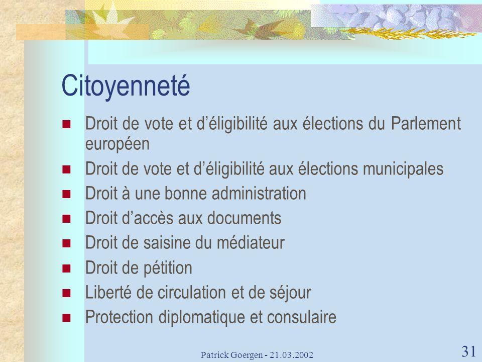 Patrick Goergen - 21.03.2002 31 Citoyenneté Droit de vote et déligibilité aux élections du Parlement européen Droit de vote et déligibilité aux électi