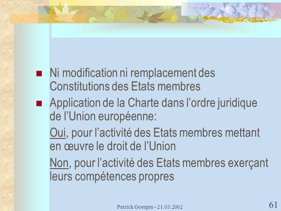 Patrick Goergen - 21.03.2002 61 Ni modification ni remplacement des Constitutions des Etats membres Application de la Charte dans lordre juridique de