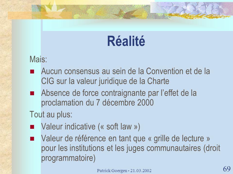 Patrick Goergen - 21.03.2002 69 Réalité Mais: Aucun consensus au sein de la Convention et de la CIG sur la valeur juridique de la Charte Absence de fo