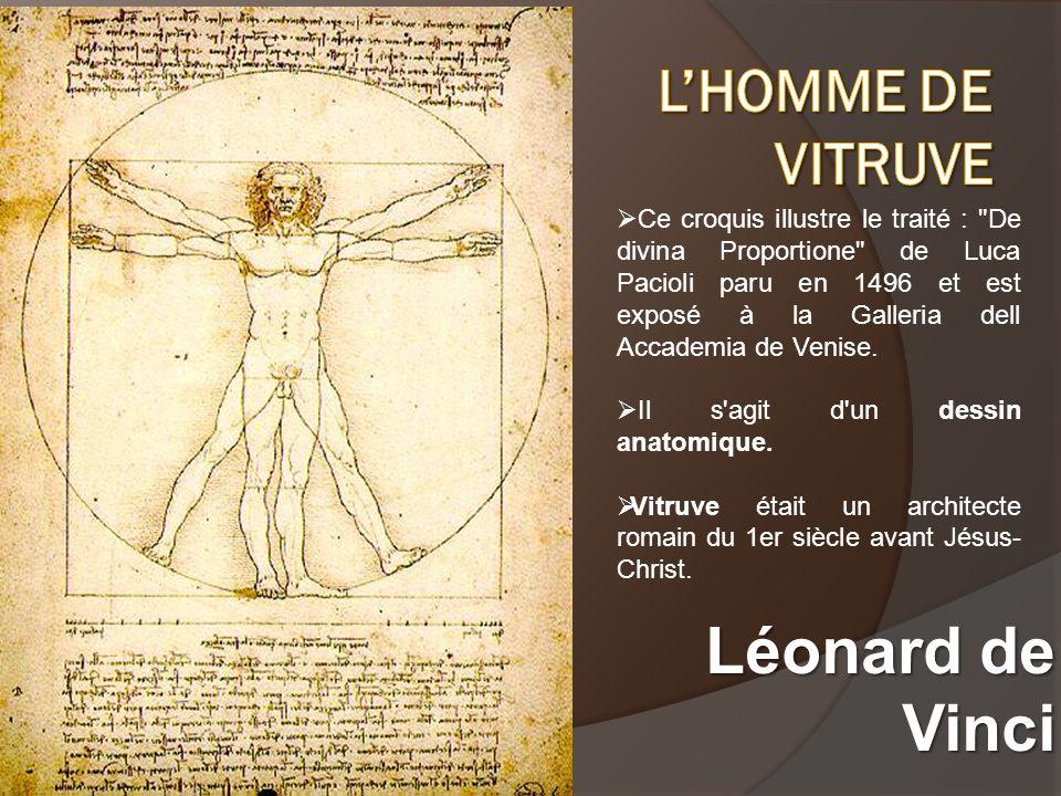 Voici un extrait du texte de Léonard de Vinci écrit sur son dessin : « La longueur des bras étendus dun homme est égale à sa hauteur.