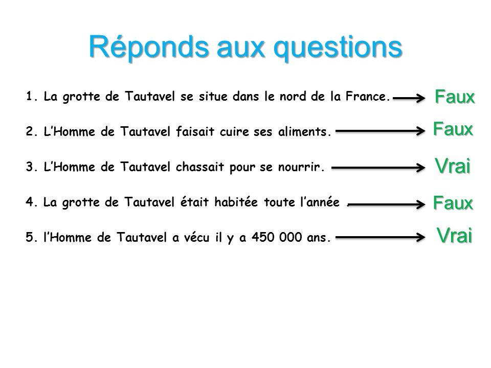 Réponds aux questions 1.La grotte de Tautavel se situe dans le nord de la France. 2.LHomme de Tautavel faisait cuire ses aliments. 3.LHomme de Tautave