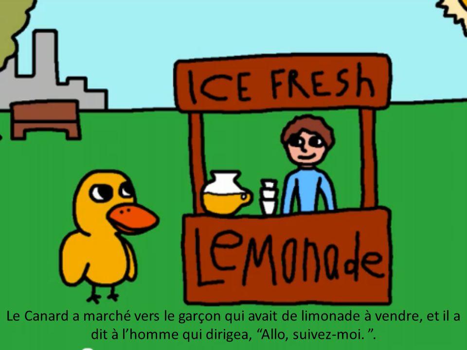 Le Canard a marché vers le garçon qui avait de limonade à vendre, et il a dit à lhomme qui dirigea, Allo, suivez-moi..