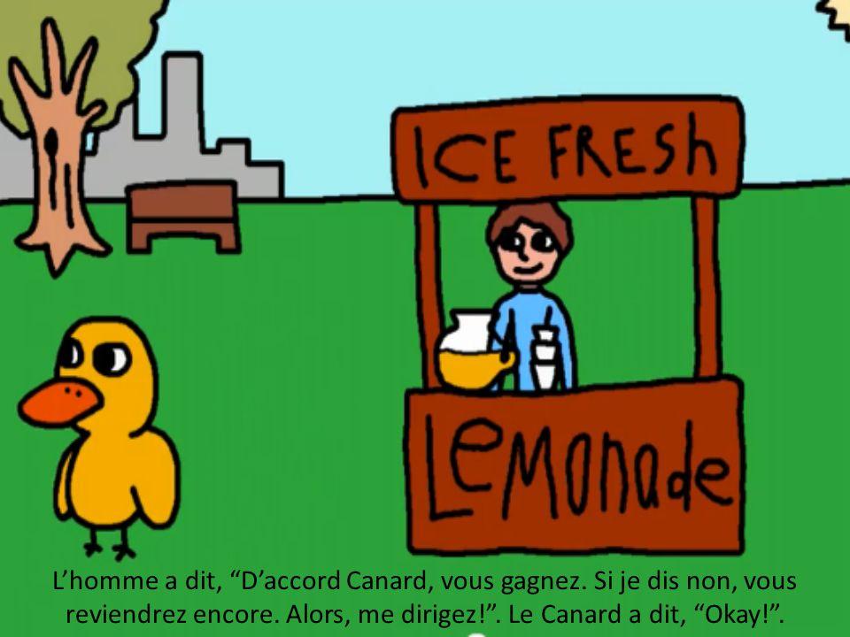 Lhomme a dit, Daccord Canard, vous gagnez. Si je dis non, vous reviendrez encore. Alors, me dirigez!. Le Canard a dit, Okay!.