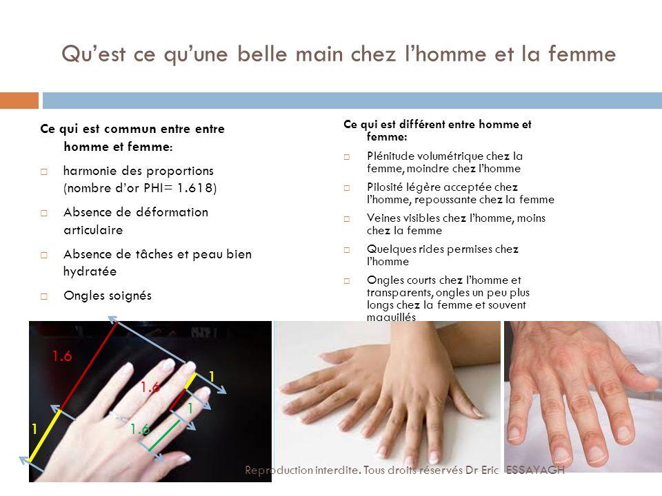 Quest ce quune belle main chez lhomme et la femme Ce qui est commun entre entre homme et femme: harmonie des proportions (nombre dor PHI= 1.618) Absen