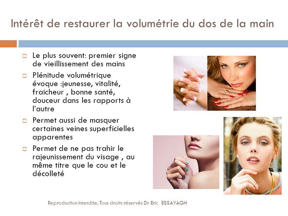 Intérêt de restaurer la volumétrie du dos de la main Le plus souvent: premier signe de vieillissement des mains Plénitude volumétrique évoque :jeuness