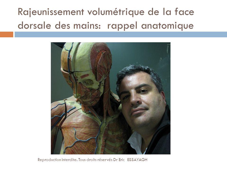 Rajeunissement volumétrique de la face dorsale des mains: rappel anatomique Reproduction interdite. Tous droits réservés Dr Eric ESSAYAGH