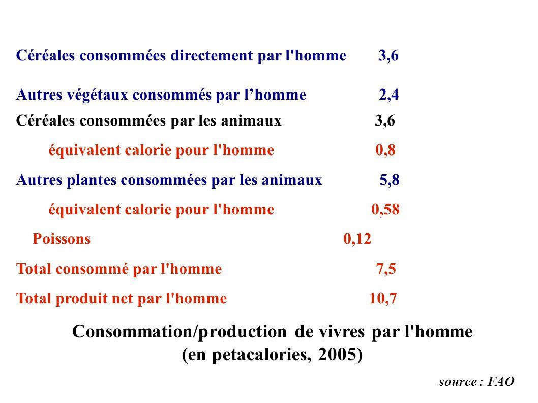 Céréales consommées directement par l'homme 3,6 Autres végétaux consommés par lhomme 2,4 Céréales consommées par les animaux 3,6 équivalent calorie po