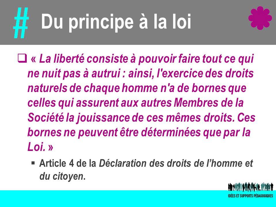 Du principe à la loi « La liberté consiste à pouvoir faire tout ce qui ne nuit pas à autrui : ainsi, l'exercice des droits naturels de chaque homme n'