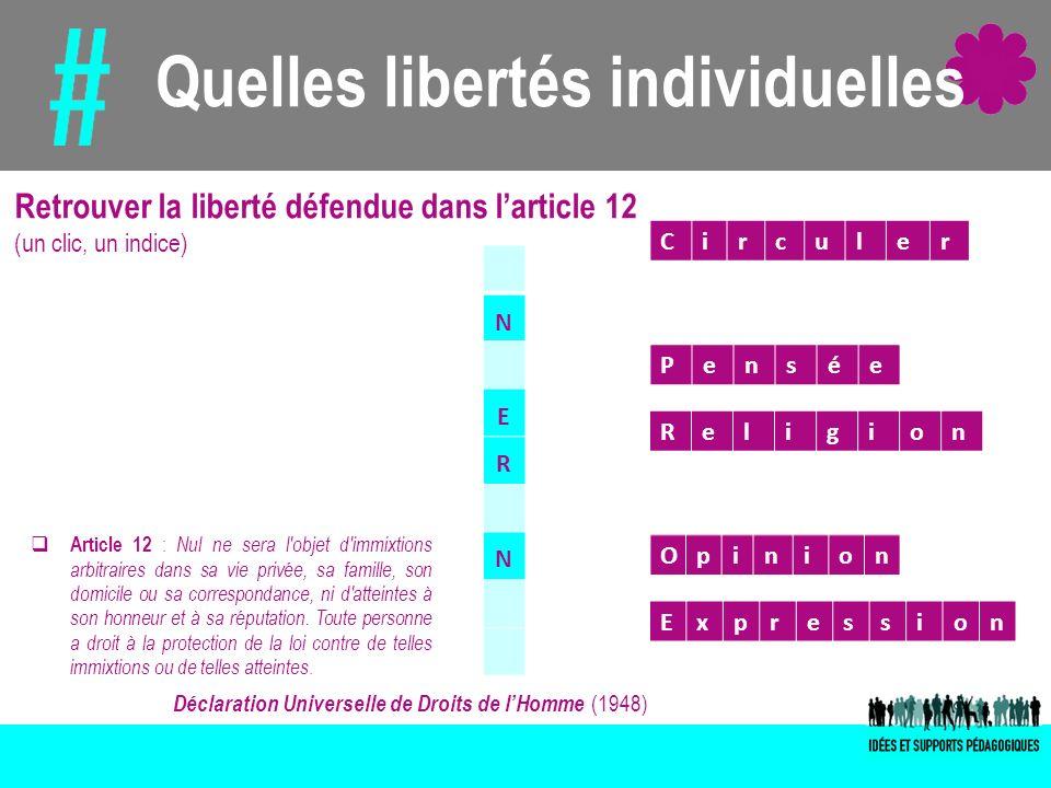 Quelles libertés individuelles Déclaration Universelle de Droits de lHomme (1948) Article 12 : Nul ne sera l'objet d'immixtions arbitraires dans sa vi