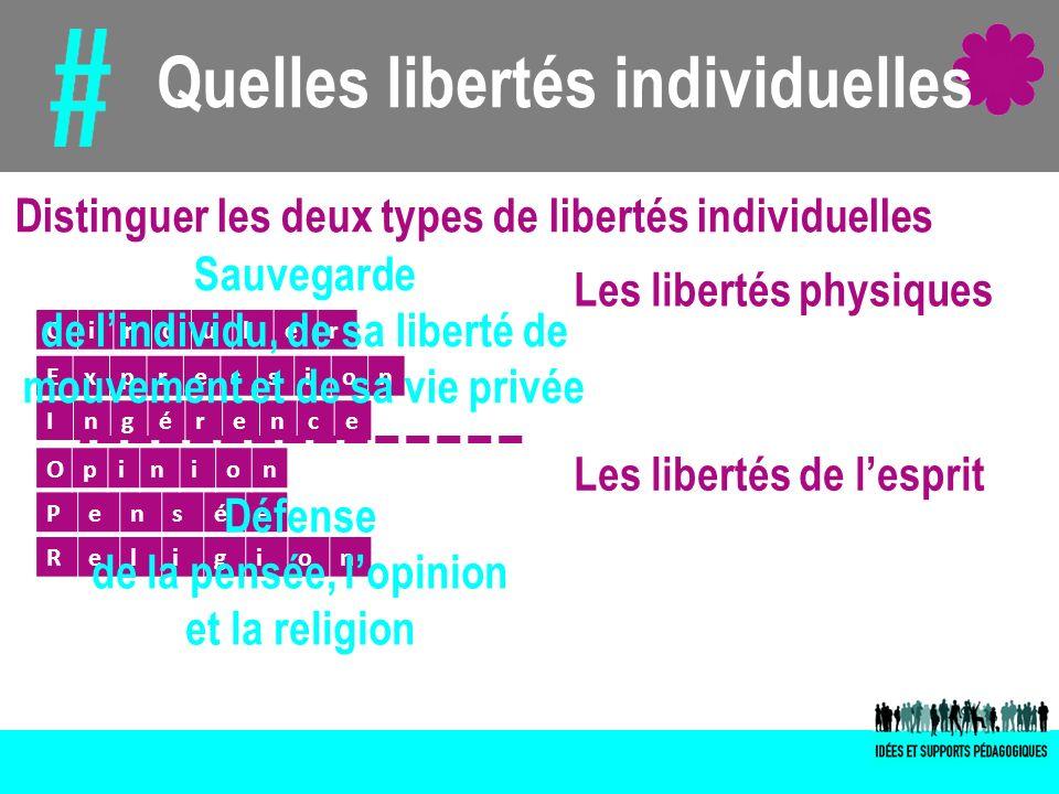 Quelles libertés individuelles Circuler Pensée Religion Opinion Expression Ingérence Les libertés physiques Les libertés de lesprit Distinguer les deu