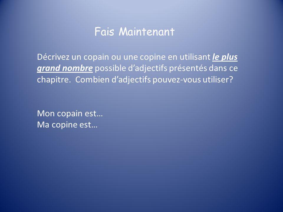 BRAGS Dhabitude les adjectifs suivent le nom en français, mais il y a quelques adjectifs qui précèdent le nom quils décrivent.