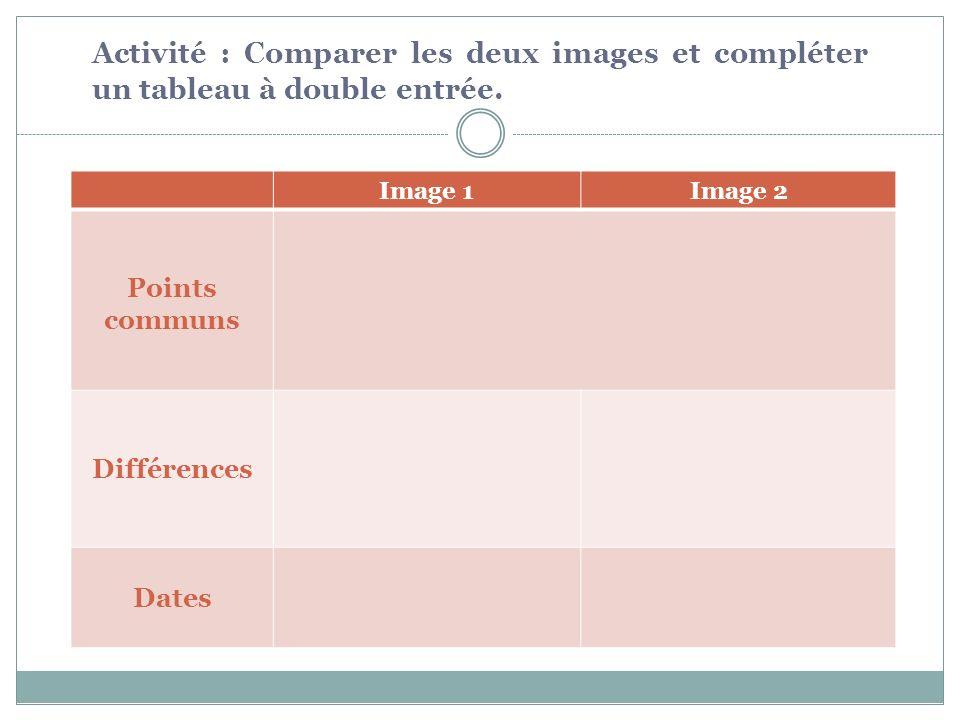 Image 1Image 2 Points communs Différences Dates Activité : Comparer les deux images et compléter un tableau à double entrée.