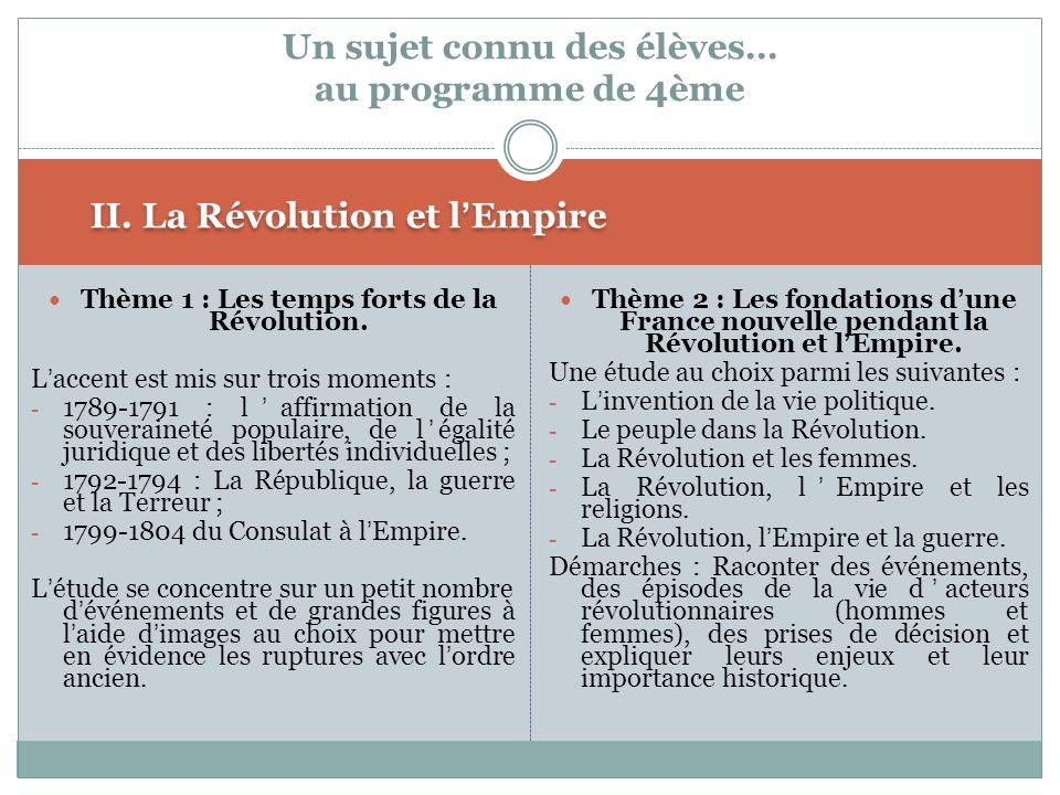 II. La Révolution et lEmpire Thème 1 : Les temps forts de la Révolution. Laccent est mis sur trois moments : - 1789-1791 : laffirmation de la souverai