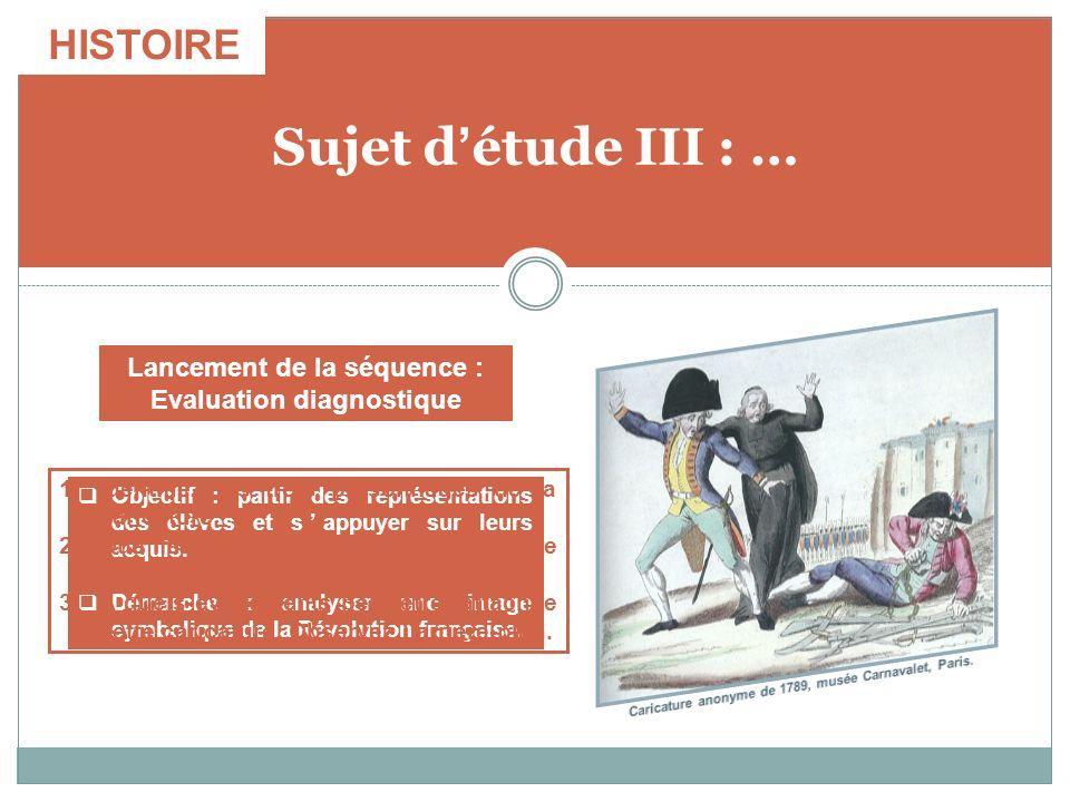 Sujet détude III : … Objectif : partir des représentations des élèves et sappuyer sur leurs acquis. Démarche : analyser une image symbolique de la Rév