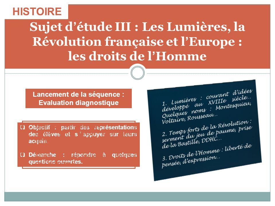 Sujet détude III : Les Lumières, la Révolution française et lEurope : les droits de lHomme Objectif : partir des représentations des élèves et sappuye