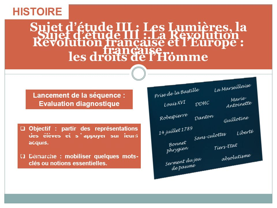 Sujet détude III : La Révolution française… Objectif : partir des représentations des élèves et sappuyer sur leurs acquis. Démarche : mobiliser quelqu