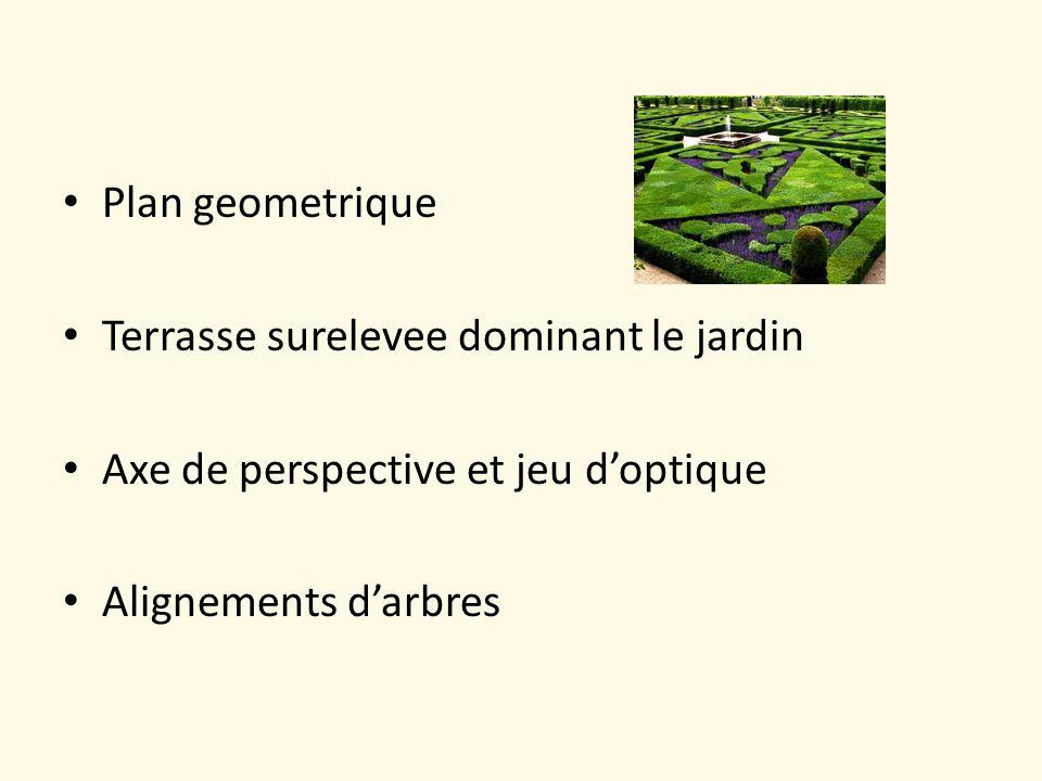 Plan geometrique Terrasse surelevee dominant le jardin Axe de perspective et jeu doptique Alignements darbres