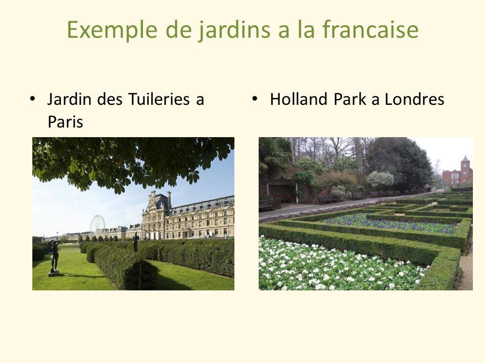 Exemple de jardins a la francaise Jardin des Tuileries a Paris Holland Park a Londres