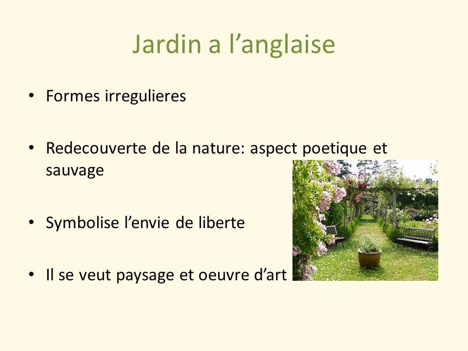 Jardin a langlaise Formes irregulieres Redecouverte de la nature: aspect poetique et sauvage Symbolise lenvie de liberte Il se veut paysage et oeuvre