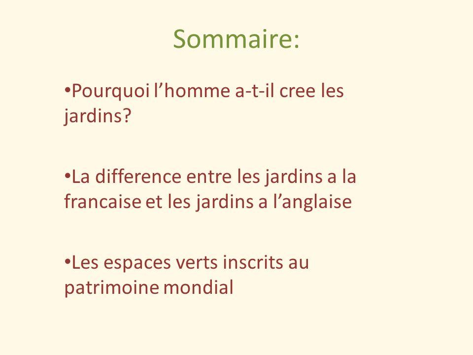 Sommaire: Pourquoi lhomme a-t-il cree les jardins? La difference entre les jardins a la francaise et les jardins a langlaise Les espaces verts inscrit