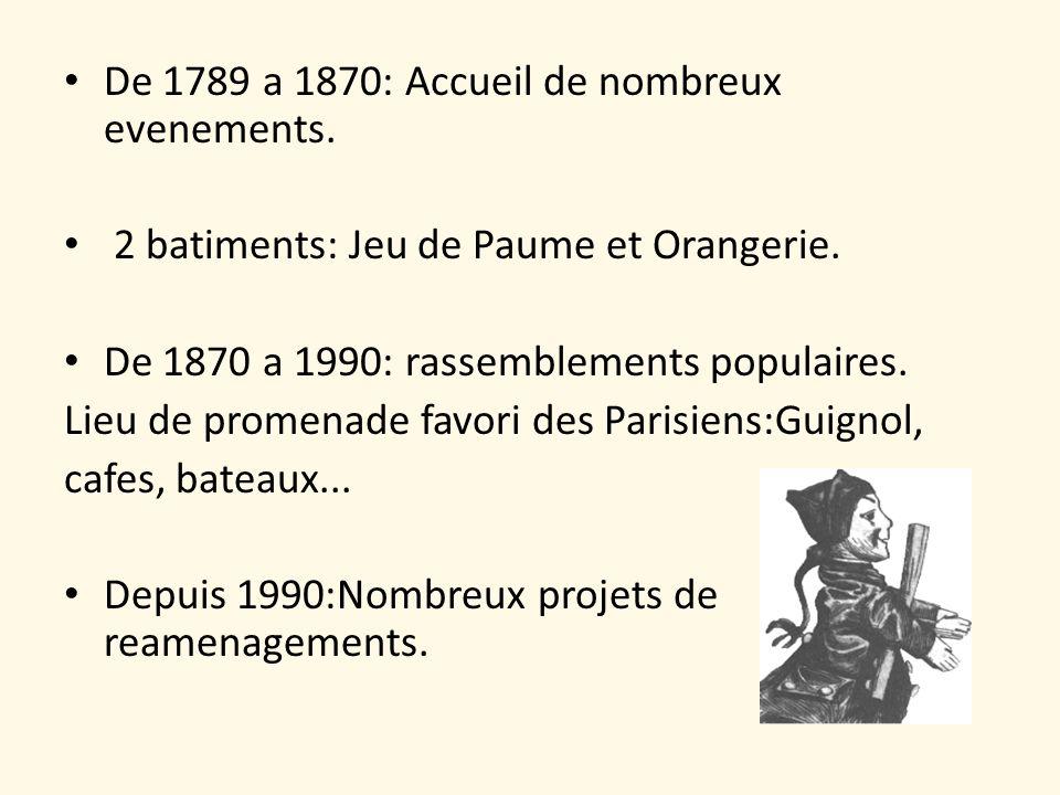 De 1789 a 1870: Accueil de nombreux evenements. 2 batiments: Jeu de Paume et Orangerie. De 1870 a 1990: rassemblements populaires. Lieu de promenade f