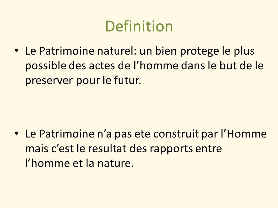 Definition Le Patrimoine naturel: un bien protege le plus possible des actes de lhomme dans le but de le preserver pour le futur. Le Patrimoine na pas