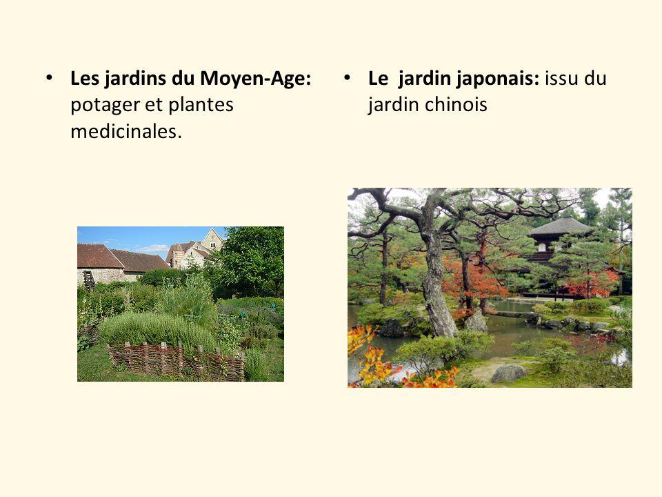 Les jardins du Moyen-Age: potager et plantes medicinales. Le jardin japonais: issu du jardin chinois