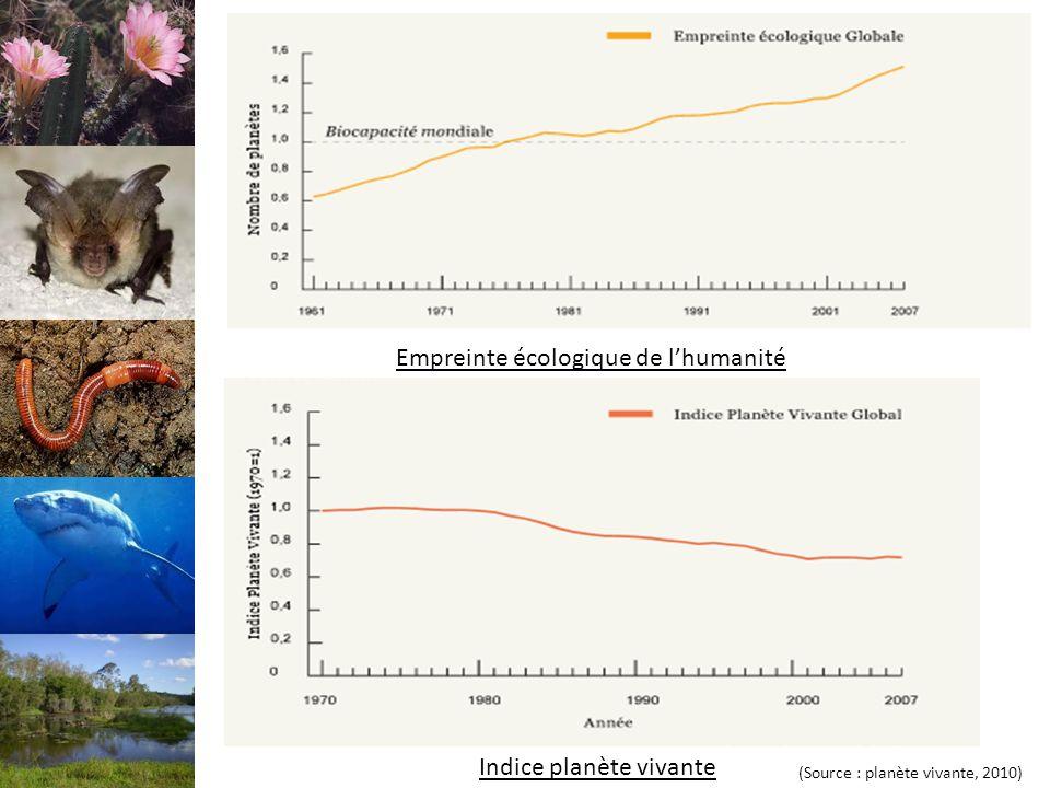 Empreinte écologique de lhumanité Indice planète vivante (Source : planète vivante, 2010)