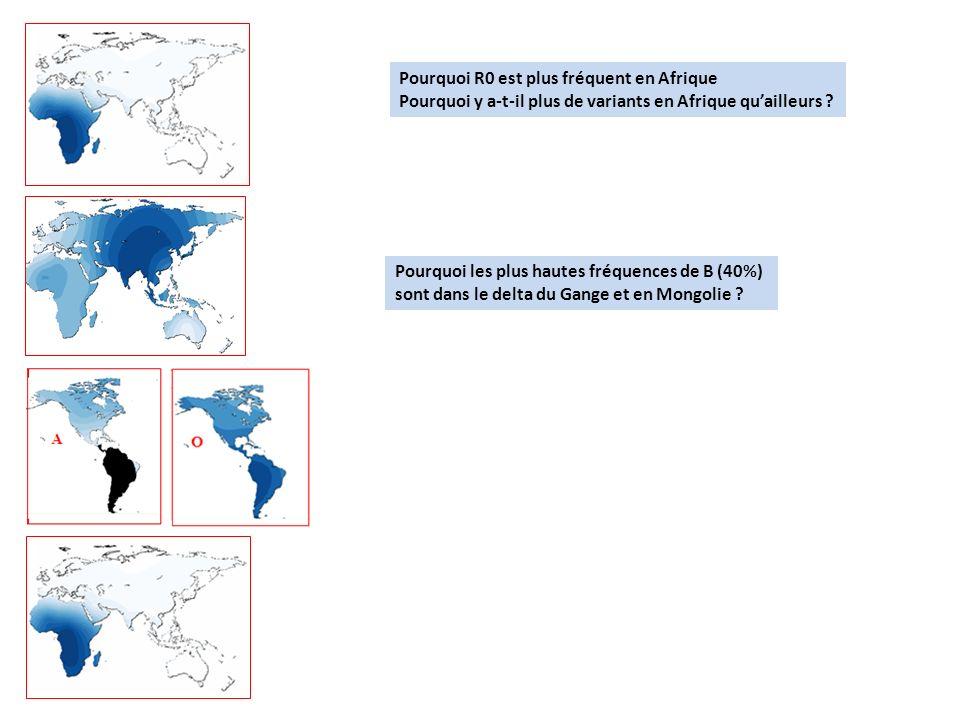 Pourquoi R0 est plus fréquent en Afrique Pourquoi y a-t-il plus de variants en Afrique quailleurs ? Pourquoi les plus hautes fréquences de B (40%) son