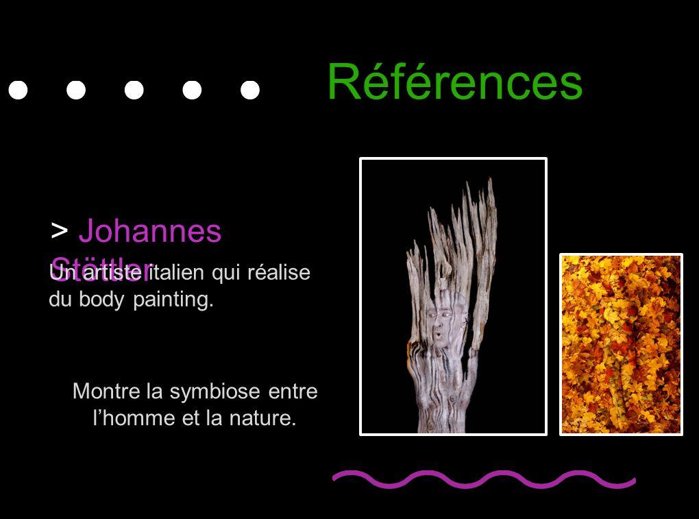 Références > Johannes Stöttler Un artiste italien qui réalise du body painting. Montre la symbiose entre lhomme et la nature.