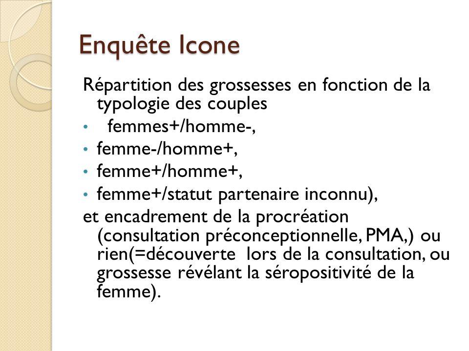 Enquête Icone Répartition des grossesses en fonction de la typologie des couples femmes+/homme-, femme-/homme+, femme+/homme+, femme+/statut partenair