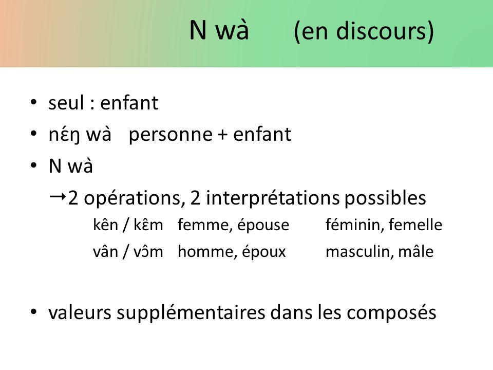 N wà (en discours) seul : enfant nɛ́ŋ wàpersonne + enfant N wà 2 opérations, 2 interprétations possibles kên / kɛ̂mfemme, épouseféminin, femelle vâ