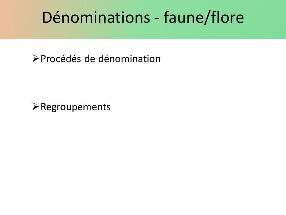 Dénominations - faune/flore Procédés de dénomination Regroupements