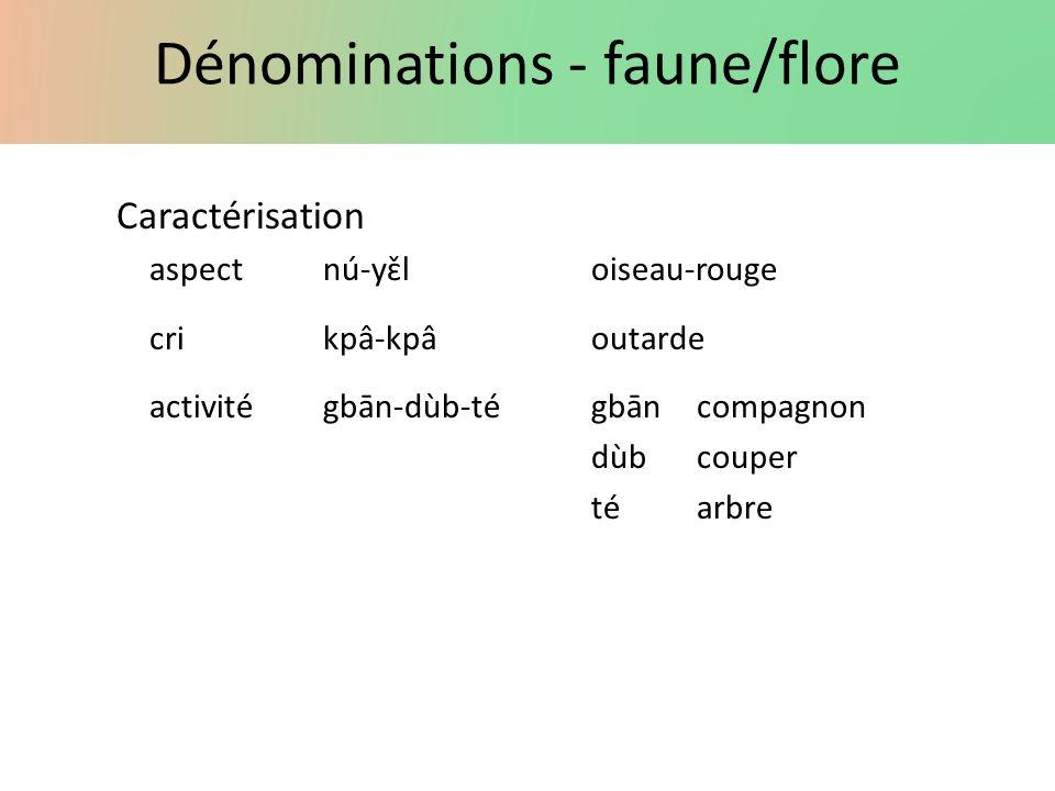 Dénominations - faune/flore Caractérisation aspectnú-yɛ̌loiseau-rouge crikpâ-kpâoutarde activité gbān-dùb-tégbāncompagnon dùbcouper téarbre