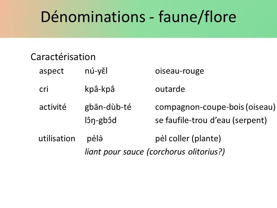 Dénominations - faune/flore Caractérisation aspectnú-yɛ̌loiseau-rouge crikpâ-kpâoutarde activité gbān-dùb-técompagnon-coupe-bois (oiseau) lɔ̂ŋ-g