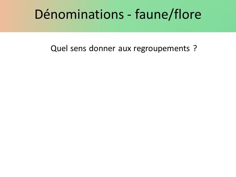 Dénominations - faune/flore Quel sens donner aux regroupements ?