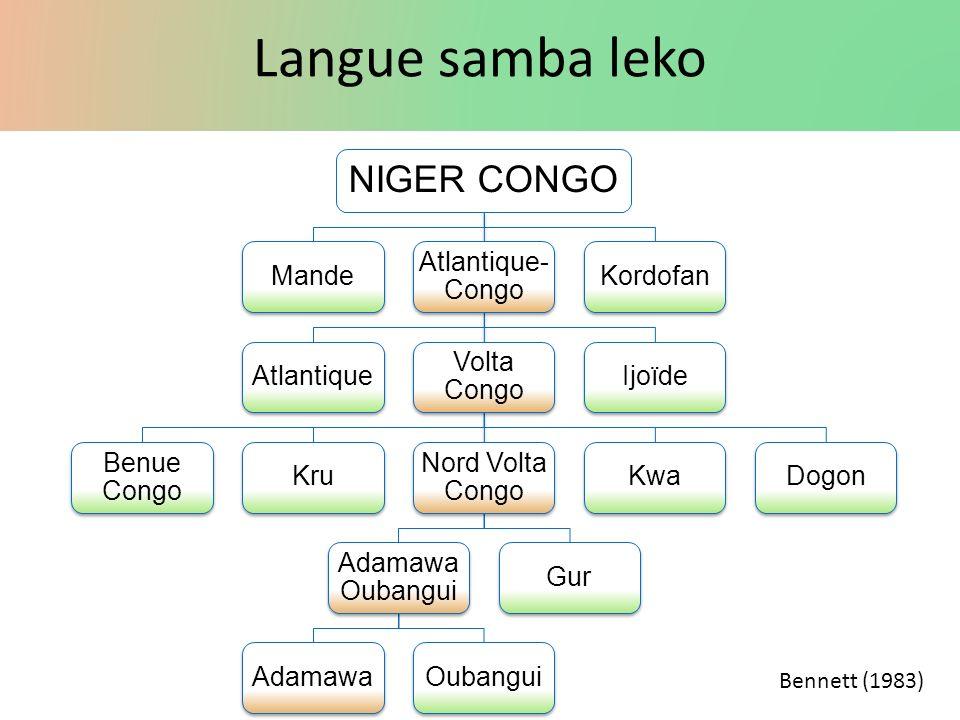 Langue samba leko NIGER CONGO Mande Atlantique- Congo Atlantique Volta Congo Benue Congo Kru Nord Volta Congo Adamawa Oubangui AdamawaOubanguiGurKwaDo