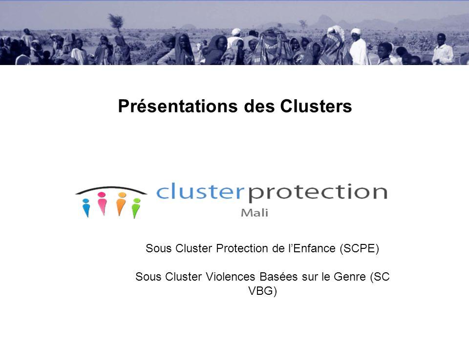 Présentations des Clusters Sous Cluster Protection de lEnfance (SCPE) Sous Cluster Violences Basées sur le Genre (SC VBG)